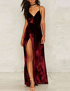 Women's Velvet/Backless Going out Party Club Sexy Sophisticated Swing Dress,Solid Strap Maxi Sleeveless Rayon Polyester High Rise Inelastic