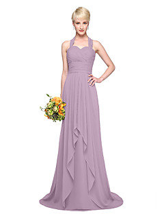 LAN TING BRIDE Floor-length Halter Bridesmaid Dress - Elegant Sleeveless Chiffon