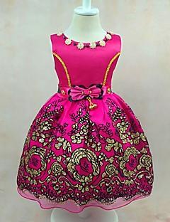 נשף באורך  הברך שמלה לנערת הפרחים - סאטן טול פוליאסטר עם תכשיטים עם פפיון(ים) ריקמה פרח(ים) קפלים סרט
