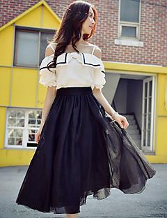 Damen Boho Street Schick Hohe Hüfthöhe Midi Röcke Schaukel,Tüll Mehrschichtig einfarbig