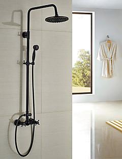 アンティーク調 伝統風 田舎風 シャワーシステム レインシャワー ハンドシャワーは含まれている with  セラミックバルブ 3つのハンドル二つの穴 for  オイルブロンズ , シャワー水栓