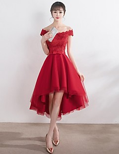 Cocktail Party Dress - Elegant A-line Off-the-shoulder Asymmetrical Lace Tulle with Bow(s)