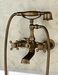 アンティーク調 伝統風 田舎風 壁式 ワイドspary ハンドシャワーは含まれている with  セラミックバルブ 3つのハンドル二つの穴 for  アンティーク銅 , 浴槽用水栓