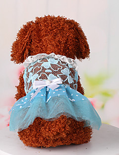 Dog Dress Dog Clothes Cute Casual/Daily Sports Lace Blue Blushing Pink