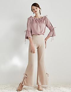 Damen Vintage Einfach Hohe Hüfthöhe Unelastisch Chinos Bootcut Hose einfarbig