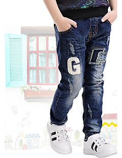 Drenge Jeans I-byen-tøj Afslappet/Hverdag Skole Broderi-Bomuld Sommer Forår Efterår
