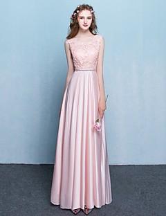aラインvネックフロアレングスサテンフォーマルイブニングドレス(サッシ/リボン付)