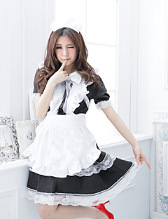 Saia Roupa Ternos de Empregadas Doce Lolita Cosplay Vestidos Lolita Branco Cor Única Manga Curta Longuete Vestido Avental Laço Para
