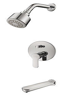 Contemporary  with  Chrome Single Handle Three Holes  ,  Feature  for Wall Mount