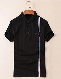 メンズ カジュアル/普段着 Polo,シンプル シャツカラー ソリッド コットン 半袖