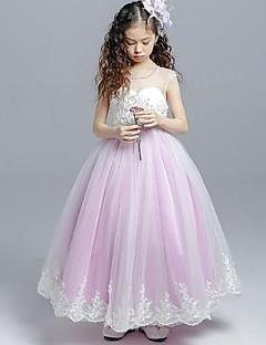 Ball Gown Tea Length Flower Girl Dress - Organza Sleeveless Jewel Neck with Pearl