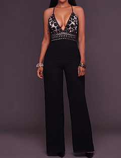 Women's Wide Leg High Rise Casual/Daily Jumpsuits,Simple Loose Solid Summer