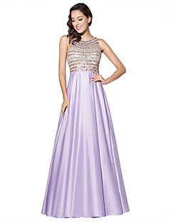 Formal Evening Dress Sheath / Column Jewel Floor-length Satin with Beading
