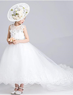 Ball Gown Asymmetrical Flower Girl Dress - Organza Jewel with Appliques Lace Pearl Detailing Ruching