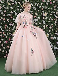 ボールガウンバトーネックフロア長さサテンチュールフォーマルイブニングドレスアップリケ刺繍花包帯