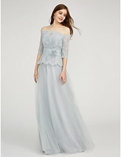 A-Line Bateau Neck Floor Length Chiffon Lace Bridesmaid Dress with Flower(s) Lace Sash / Ribbon by LAN TING BRIDE®