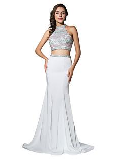 マーメイド/トランペット・ホールター・コート・トレイン・ジャージービーズ付きフォーマル・イブニングドレス
