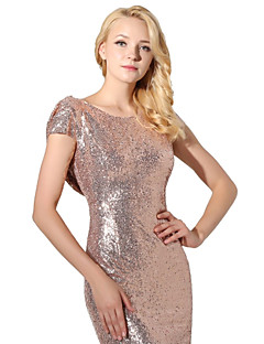 Formal Evening Dress - Sparkle & Shine Trumpet / Mermaid Jewel Floor-length Sequined with Sequins