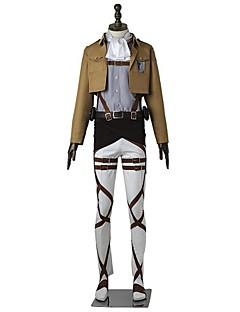 Inspireret af Attack on Titan Levy Anime Cosplay Kostumer Cosplay Kostumer Ensfarvet Langærmet Top Bukser Forklæde Bælte Mere Tilbehør T恤衫