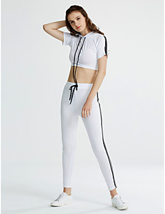 Bomull / Polyester Blå / Hvit / Sort Medium Ermeløs,Rund hals T-skjorte Bukse Drakter Ensfarget Vår / Sommer Aktiv Sport Dame