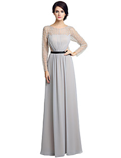 Sheath / Column Mother of the Bride Dress Floor-length Long Sleeve Chiffon with Beading