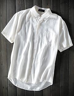 メンズ カジュアル/普段着 夏 シャツ,シンプル シャツカラー ソリッド リネン 半袖 薄手