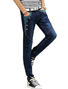Menn Fritid Ensfarget Jeans,Bomull Blå