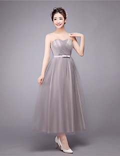 Ankle-length Strapless Bridesmaid Dress - Sexy Sleeveless Satin Tulle