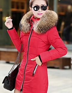 Γυναικείο Μακρυμάνικο Μακρύ Ενισχυμένο Παλτό,Μονόχρωμο Απλό Καθημερινά-Βαμβάκι Πολυπροπυλένιο