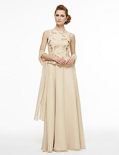 Lanting Bride® A-Linie Brautmutterkleid - Zweiteilig Boden-Länge Ohne Ärmel Chiffon Spitze  -  Perlstickerei Spitze Plissee