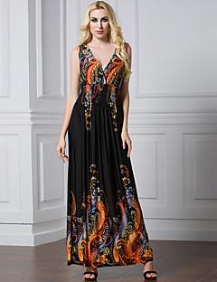 여성 루즈핏 칼집 스윙 드레스 비치 휴일 플러스 사이즈 섹시 보호 솔리드,V 넥 맥시 민소매 폴리에스테르 여름 가을 높은 밑위 스트레치 중간
