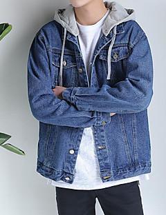 Men's Casual/Daily Simple Spring Denim Jacket,Solid Hooded Long Sleeve Regular Linen