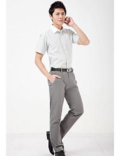 Masculino Camisa Social Festa Casual Trabalho Simples Todas as Estações Verão,Listrado Algodão Elastano Colarinho de Camisa Manga Curta