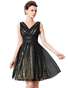 A-linje v-hals knelengde chiffong-sequined cocktail party kjole med sash / bånd paljetter side draping plater