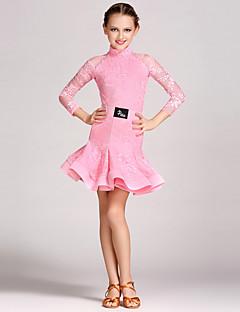 ריקוד לטיני תלבושות בגדי ריקוד ילדים הופעה תחרה עטוף 2 חלקים שרוול ארוך טבעי בגד גוף חצאית