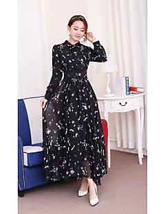 Women's Casual/Daily Beach Street chic Sheath Swing Dress,Floral Round Neck Maxi Long Sleeve Others Spring Summer High Rise Micro-elastic