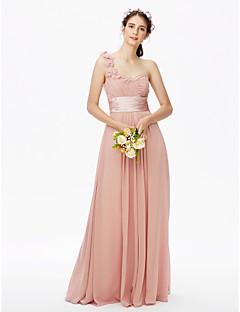LAN TING BRIDE Na zem Jedno rameno Šaty pro družičky - Otevřená záda Květinové Bez rukávů Šifón