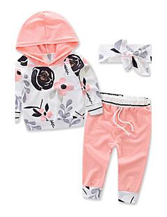 Unissex Conjuntos Fashion Esportes Floral Outono Algodão Pant Long Conjunto