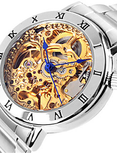 Dames Skeleton horloge Modieus horloge mechanische horloges Automatisch opwindmechanisme Waterbestendig Legering Band Zilver Roze