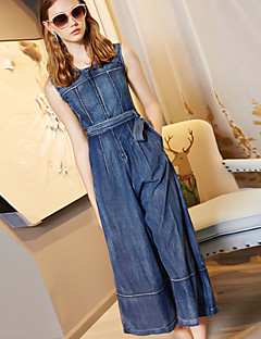 BLUEOXY Women's Mid Rise Going out Casual/Daily JumpsuitsSimple Wide Leg Solid Color Summer Fall