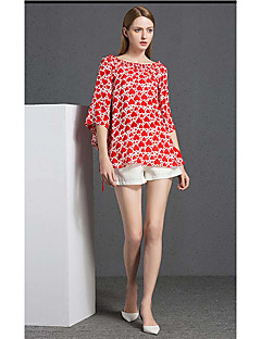 YIPINWAN Women's Going out Casual/Daily Sexy Simple T-shirtPrint Boat Neck  Sleeve Rayon