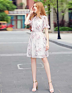 KANFWomen's Casual/Daily A Line DressFloral Round Neck Knee-length Short Sleeve Polyester Summer High Rise Micro-elastic Thin