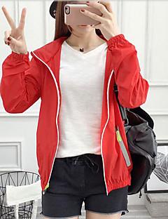 Damen Druck Einfach Lässig/Alltäglich Mantel,Mit Kapuze Sommer Lange Ärmel Standard Acryl