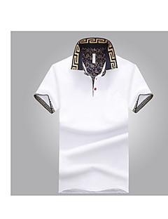 メンズ お出かけ カジュアル/普段着 夏 Tシャツ,シンプル シャツカラー ソリッド コットン 半袖 ミディアム