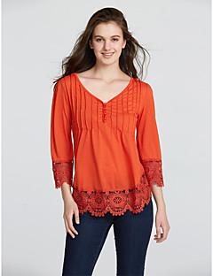 3/4 ærmelængde V-hals Medium Dame Blå Rosa Sort Grøn Orange Ensfarvet Efterår Vinter Sexet Simpel Casual/hverdag T-shirt,Bomuld