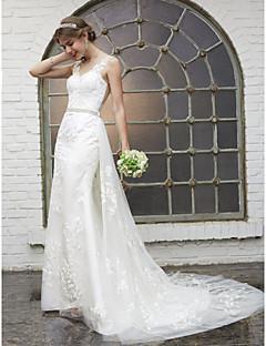 LAN TING BRIDE Футляр Свадебное платье - Элегантность и роскошь Гламур Прозрачные Из двух частей Со шлейфом средней длины Круглый вырез