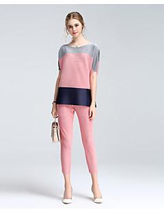 Feminino Camisa Saia Conjuntos Casual Moda de Rua Verão,Geométrica Decote Redondo