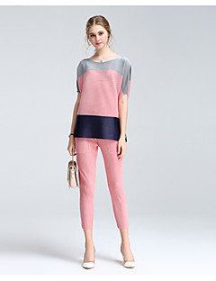 Women's Casual/Daily Street chic Summer Shirt Skirt Suits,Geometric Round Neck Half Sleeve