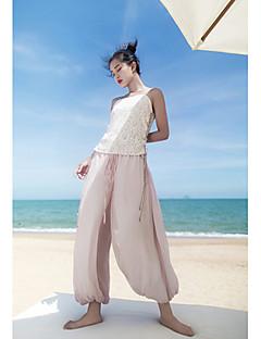 Damen Chinoiserie Mittlere Hüfthöhe strenchy Breites Bein Bootcut Hose einfarbig