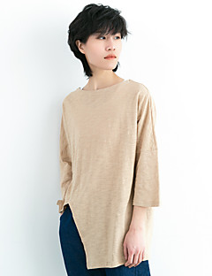 Women's Going out Casual/Daily Holiday Simple Spring Summer T-shirt,Solid Round Neck ¾ Sleeve Cotton Medium